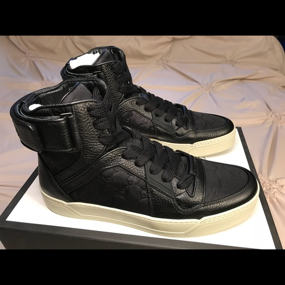 7728a35965dd Gucci Shoes   New Ssima Black White High Top Sneakers   Poshmark